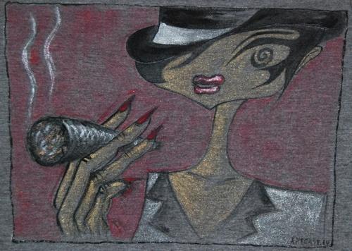Koszulka Dziewczęca z ręcznie malowanym motywem - długi rękaw,  rozm 36