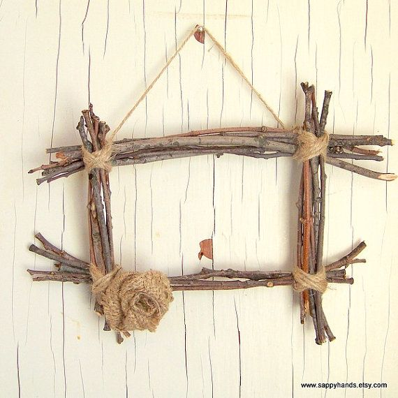 Rustic Twig and Twine Hanging Wall Frame Featuring Burlap Flower, Rustic Home Decor, Primitive Wooden Frame