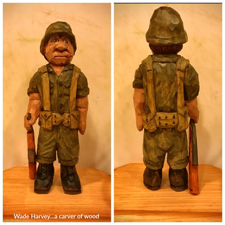 """A commission carving for a departing COL at work. It's from the latest Floyd Rhadigan book, """"Caricature Soldiers"""".  He's 9"""" tall, carved from basswood, painted with acrylics and finished with Watco wax. Thanks for looking."""