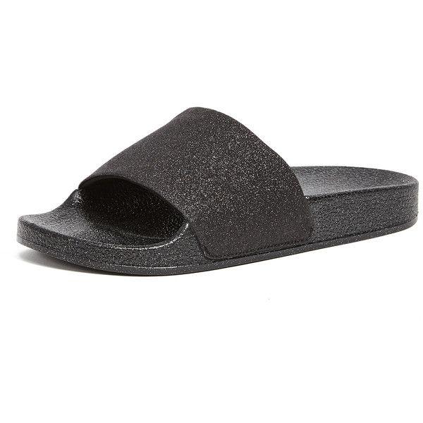 Steven Samora Slides (260 BRL) ❤ liked on Polyvore featuring shoes, black, black glitter shoes, black rubber sole shoes, weave shoes, steven shoes and black shoes