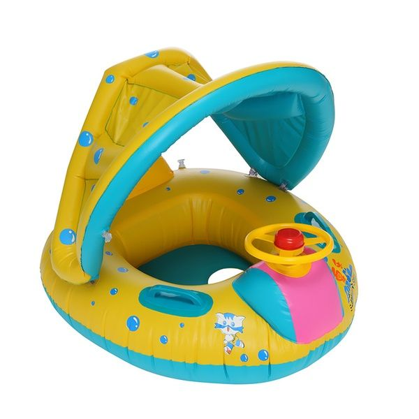 Swimming Ring Inflatable Baby Float Sunshade Swimming Boat Seat With Sun Canopy Ad Spon Baby Swimming Inflatable In 2020 Baby Float Baby Car Seats Boat Seats