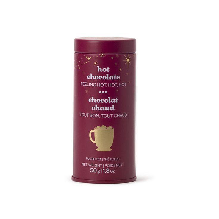 Davids Tea Hot Chocolate Skinny Tin http://www.womenshealthmag.com/life/cheap-gifts-that-look-expensive/davids-tea-hot-chocolate-skinny-tin