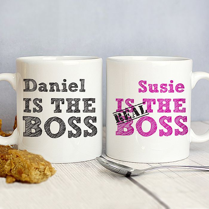 Personalise this set of mugs with a name of each mug. On the mug printed in black you can personalise with first name up to 12 characters followed by 'is the boss' as standard, and on the pink mug you can also personalise with a first name followed by 'is the real boss'  What's more, this fantastic gift can also be made and dispatched in 48 hours.  Hand washing is recommended.  Material is ceramic.  Ideal for Valentines Day, Wedding presents, Anniversary gifts, Engagement present.