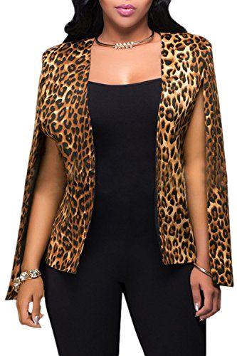 Les Femmes Les Leopard Avant Ouvert Blazer Poncho Cape Vêtements Leopard XL 8255e975354f