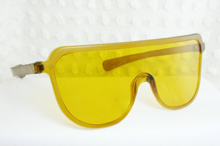 Glasses With Yellow Frame : Vintage 1960s Sunglasses 70s Safety Glasses Flat Tan ...
