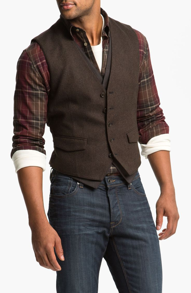 John Varvatos Star USA Double Layered Vest http://www.99wtf.net/men/mens-fasion/latest-mens-casual-trouser-trend-2016/