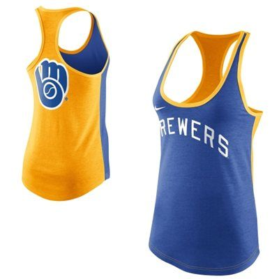 Omg im buying this! Nike Milwaukee Brewers Women's Tri-Blend Loose Fit Racerback Tank - Royal Blue/Gold