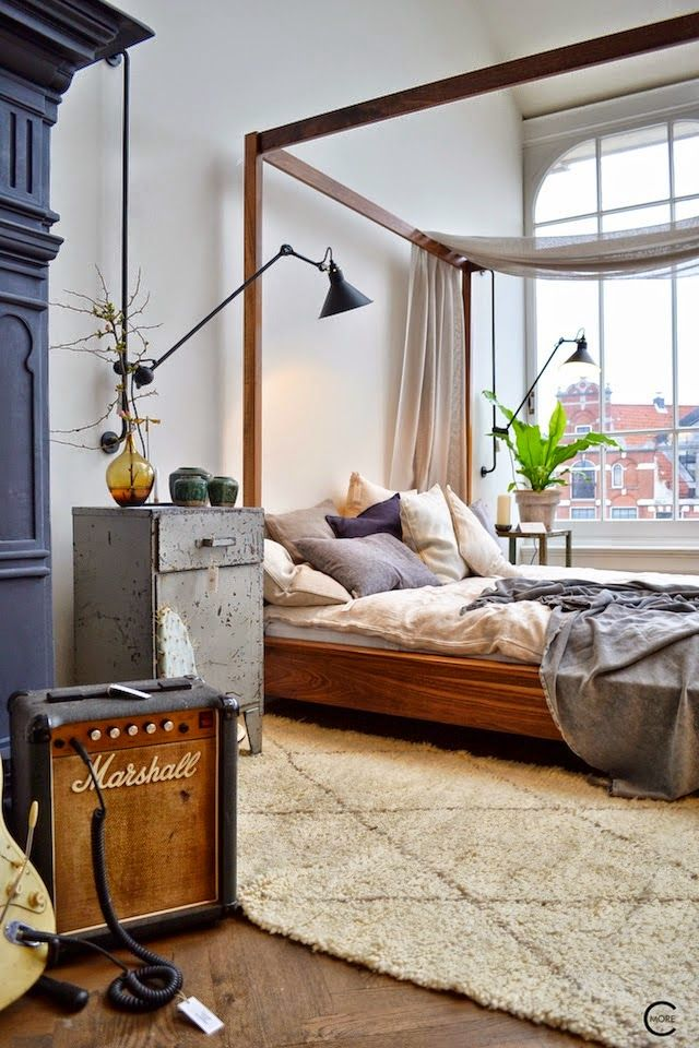 Industrial and modern bedroom