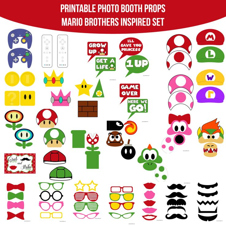 Instant Download Video Game Mario Super Marion Bros Inspired Printable Photo Booth Prop Set — Amanda Keyt DIY Photo Booth Props & More!