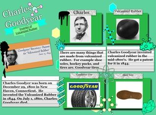 Charles Goodyear was an American self-taught chemist and manufacturing engineer who developed vulcanized rubber, for which he received patent number 3633 from the United States Patent Office on June 15, 1844. #glogster #goodyear