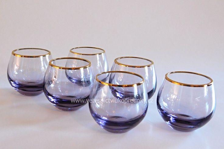 Likérová sada, sklárna #Moser, 6 ks světle fialové sklo  #vetesnictví #bazar #retro #junkshop #vetesnictviukopretinky #sklo