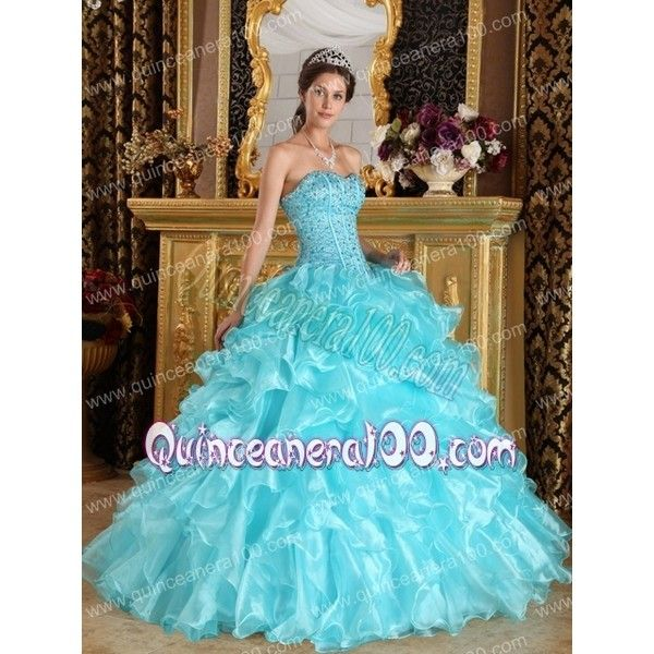 Aqua Blue Ball Gown Sweetheart Floor-length Ruffles Organza... ❤ liked on Polyvore featuring dresses, gowns, blue gown, prom ball gowns, blue ball gown, prom dresses and military ball gowns