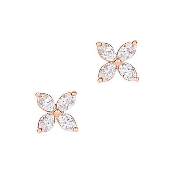 Brincos Tiffany Victoria™ em ouro rosa 18k com diamantes, mini.