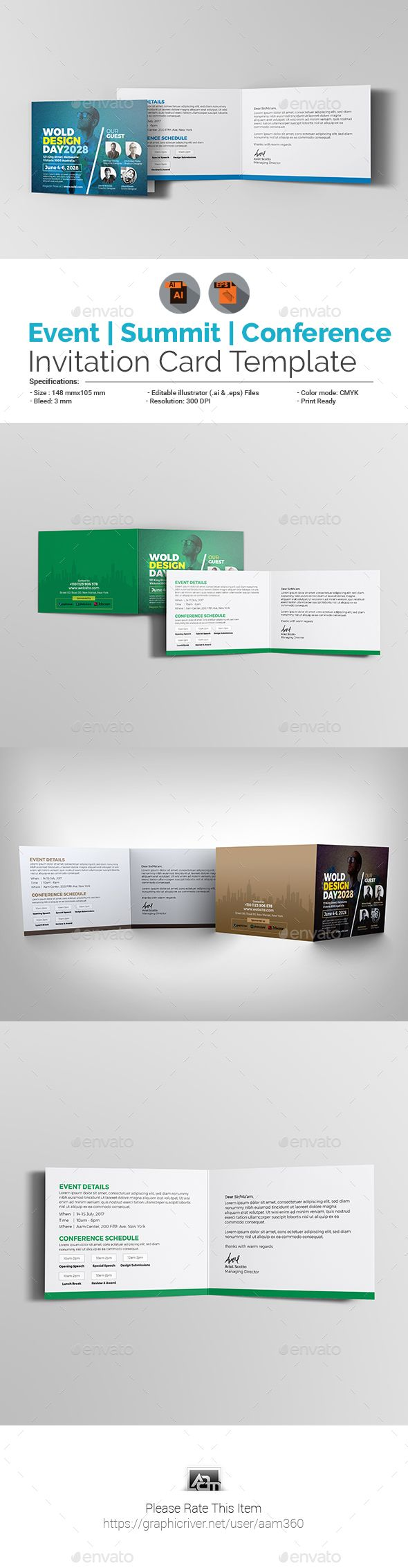 #Event/Summit/Conference Invitation Card - #Cards & #Invites Print Templates