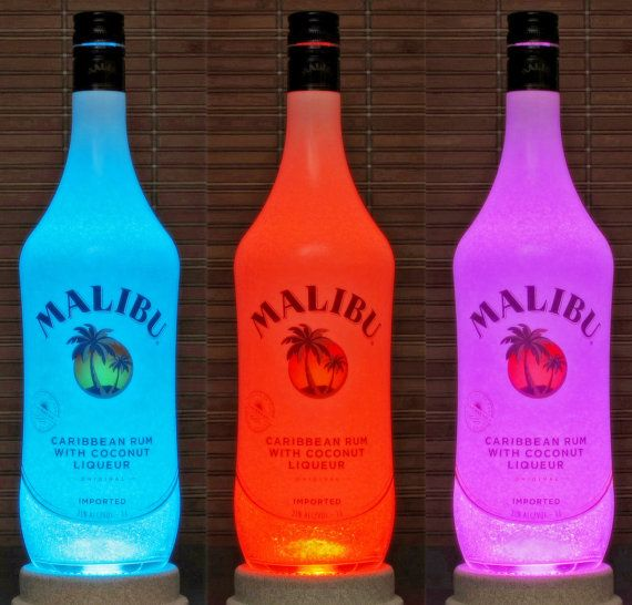 Malibu Rum Color Changing Remote Control LED Liquor Bottle Lamp Accent Light  Coconut Caribbean