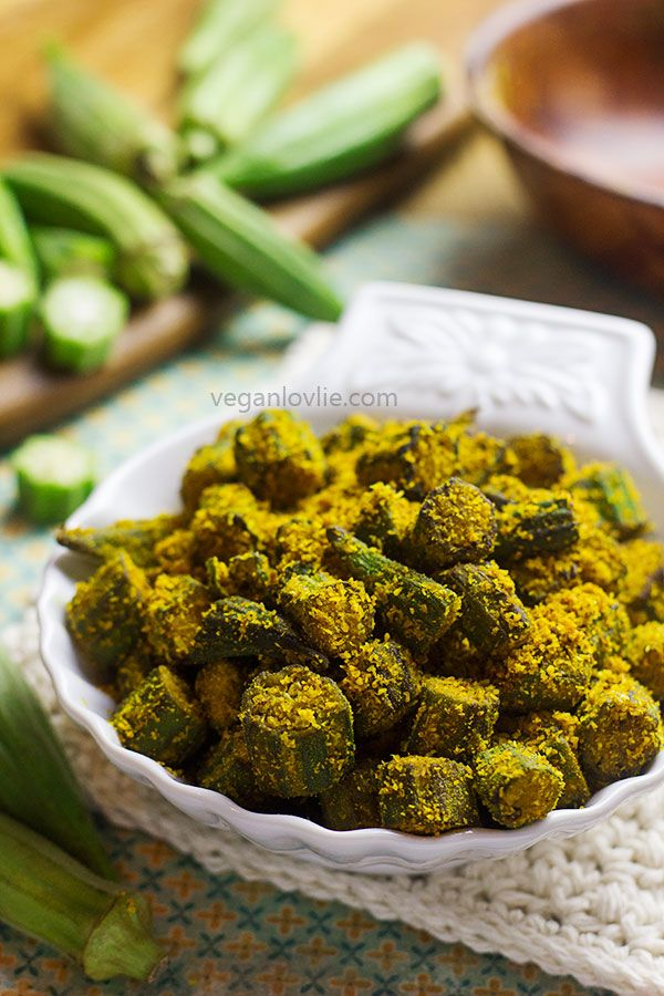 Tasty spiced crispy okra recipe. Coconut & chickpea flour not only add to the taste & crispiness but also absorb excess moisture to yield non-slimy okra.