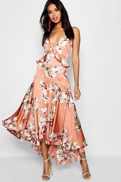 ffdc7c838d Boutique lo floral satin ruffle dip hem dress by Boohoo #boohoo #dresses