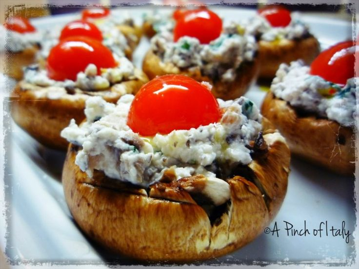 Ricotta Stuffed Mushrooms with Herbs and Cherry Tomatoes