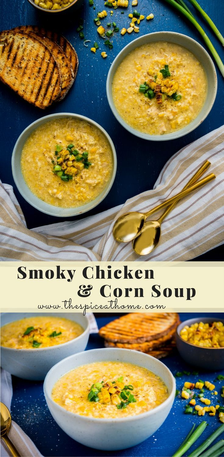 Grilled corn and shredded smoky chicken in a Chinese egg drop soup base