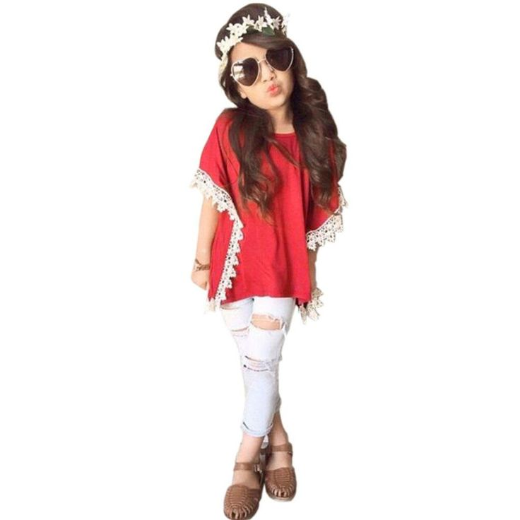 "DaySeventh Toddler Kids Girls Outfits Popular Tops + Ripped Denim Pants Clothes Set (5-6 Years, Red). Decoration:Lace. Style:Cute&Popular&Casual. Sleeve Style:Batwing Sleeve. Package include:1PC T-Shirt 1PC Long Pants Toddler Kids Girls Outfits Popular Tops + Ripped Denim Pants Clothes Set. DaySeventh Independent Brand 2017 New Arrival(Note:Please make sure the seller you choose is ""DaySeventh"" before you buy. If not, we are not responsiable for anything about this product)."