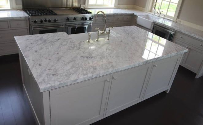 White Carrara Marble Countertops For Bathrooms And Kitchen