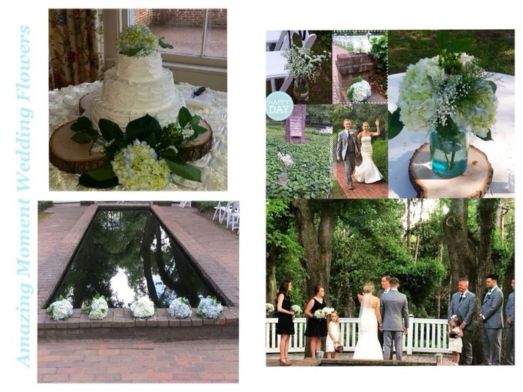 Hopeland Gardens, The Rye Patch, Aiken, S.C. June wedding. Navy and white wedding.Blue hydrangea, baby's breath. Creamy white and blue wedding.  Amazing Moment Wedding Flowers  803-556-1136