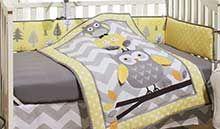 Owls Gray and Yellow Crib Sets