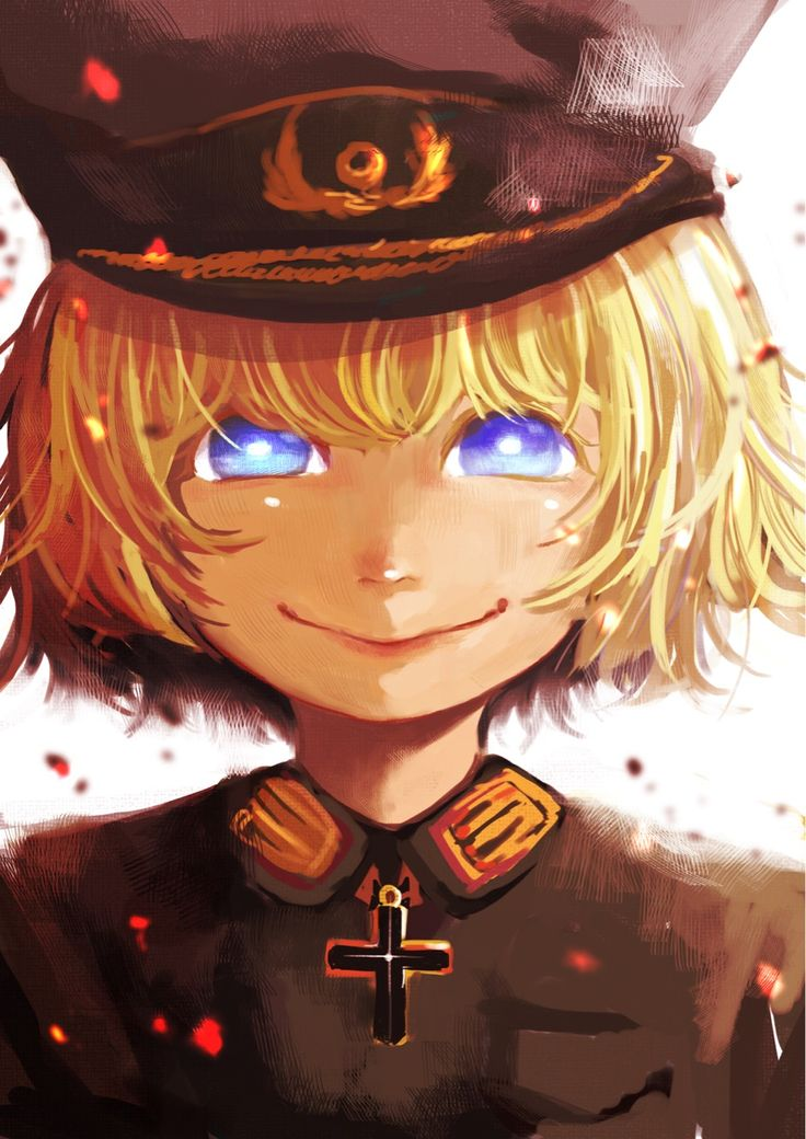 youjo senki tanya degurechaff high resolution 1girl blonde blue eyes female iron cross lion-ouka729 looking at viewer military military hat military uniform simple background smile solo uniform white background