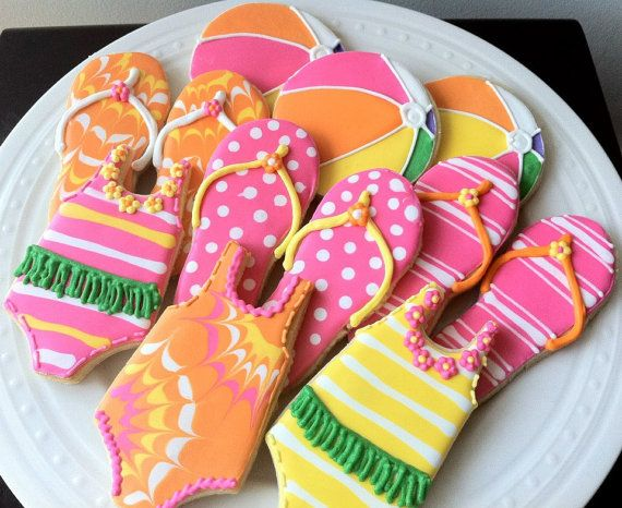 Pool Party Themed Decorated Cookies- Beach Ball, Flip Flop, Bathing Suit, Perfect for a Hawaiian Luau Summer Party Favor