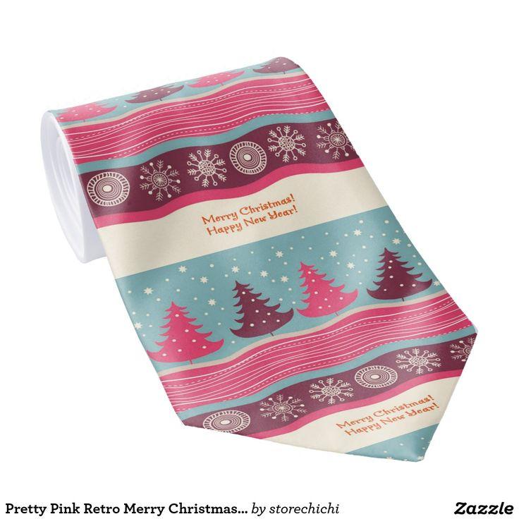 Pretty Pink Retro Merry Christmas Tree Pattern