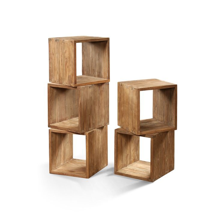 Lifestyle Storage Cube Reclaimed Natural Teak, Handmade In Indonesia By Raft