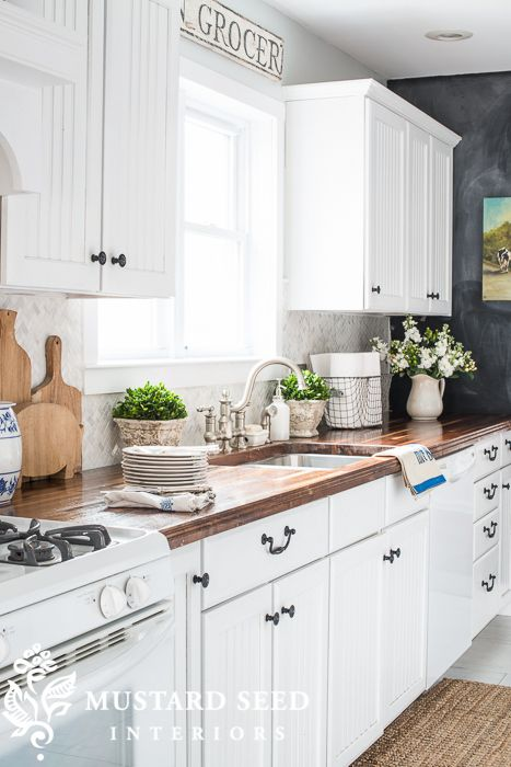 Best White Grey Kitchen With Chalkboard Wall And Butcher 640 x 480
