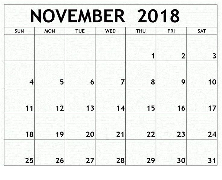 November Calendar 2018 November Calendar 2018 Template Pinterest