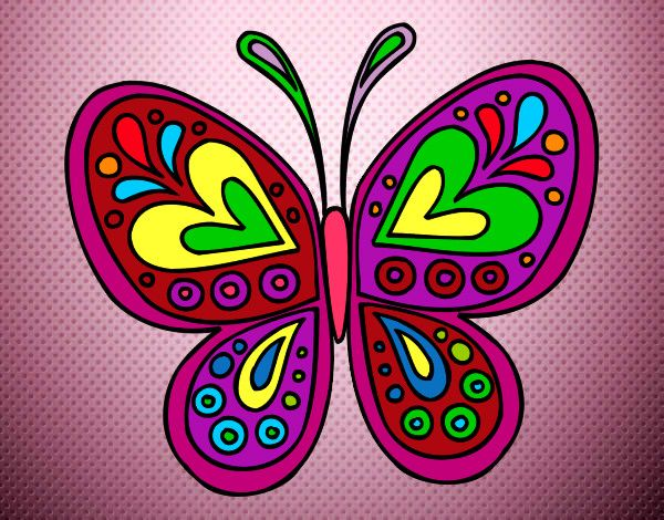 Desenho Mandala borboleta pintado por kaylaine