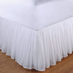 """White Sheer Cotton Voile Ruffled Bed Skirt 18"""" drop"""