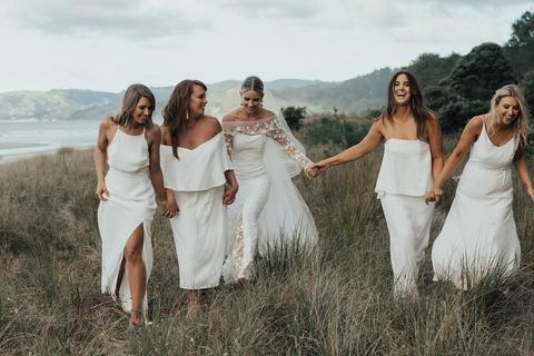 Céline Rita. White Bridesmaids. NZ wedding. Celine Rita Bridesmaids.