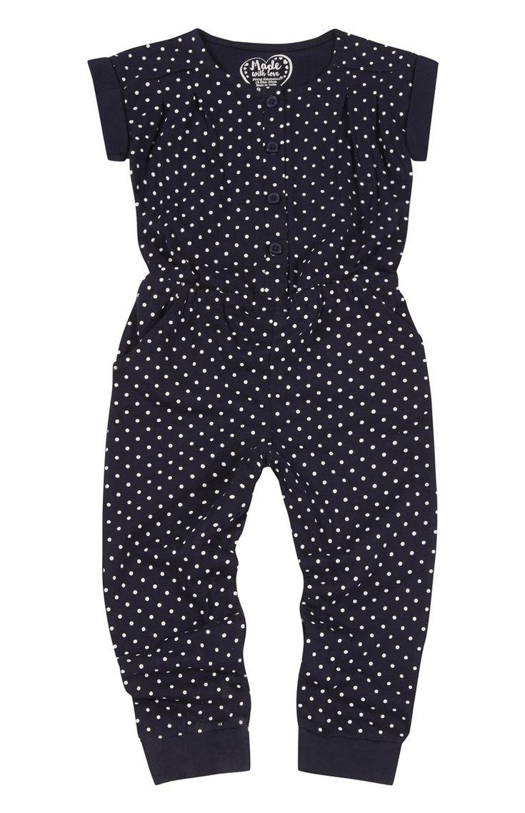 Navy Polka Dot Jersey Jumpsuit