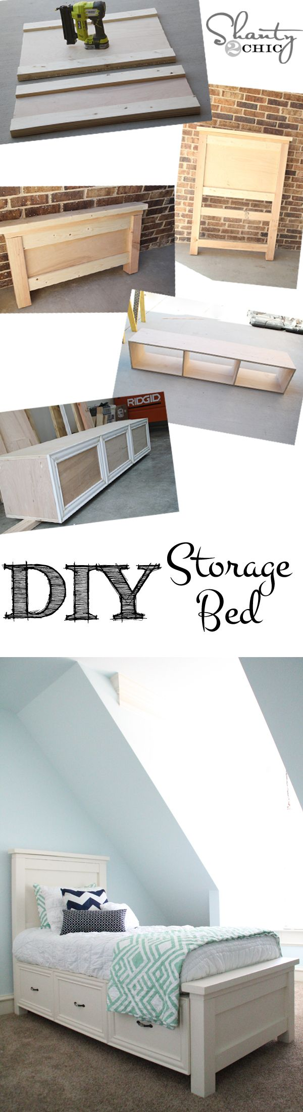 DIY Storage Bed. Perfect for small spaces! Click for the tutorial!