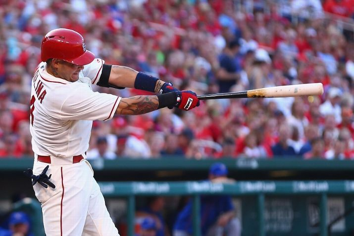 Yadier Molina hits an RBI double against the New York Mets in the first inning. Cards won 12-2.  7-18-15