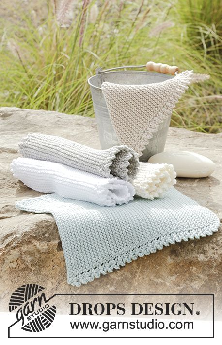 Knitted cloths with garter stitch and lace edge in DROPS Cotton Light. Free pattern by DROPS Design.