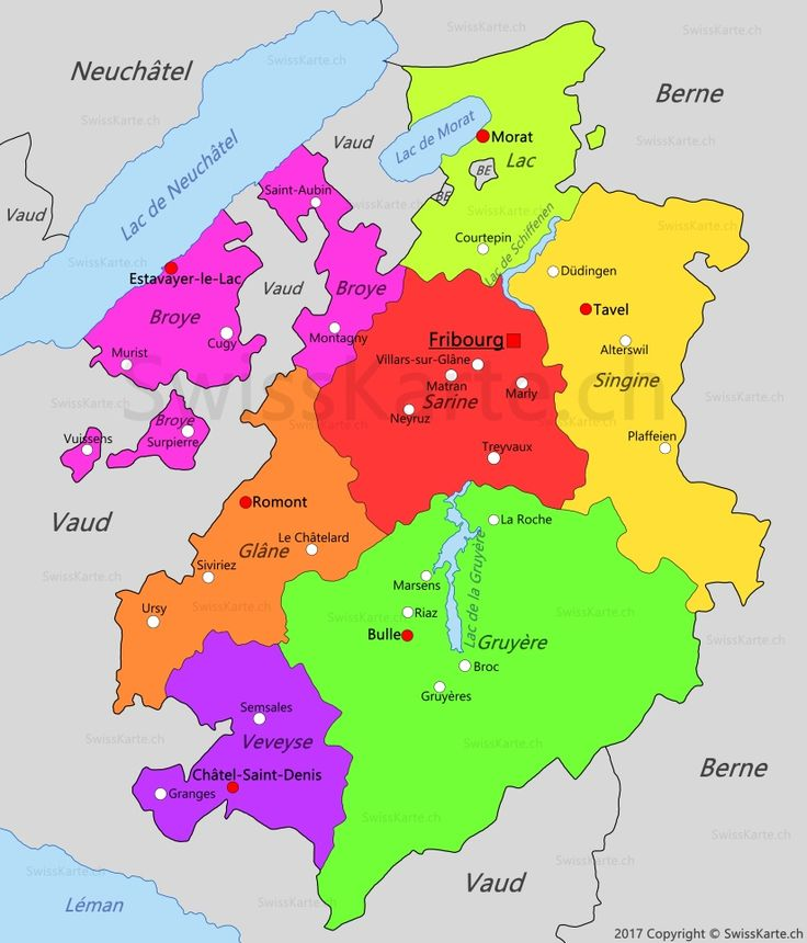 Carte du canton de Fribourg