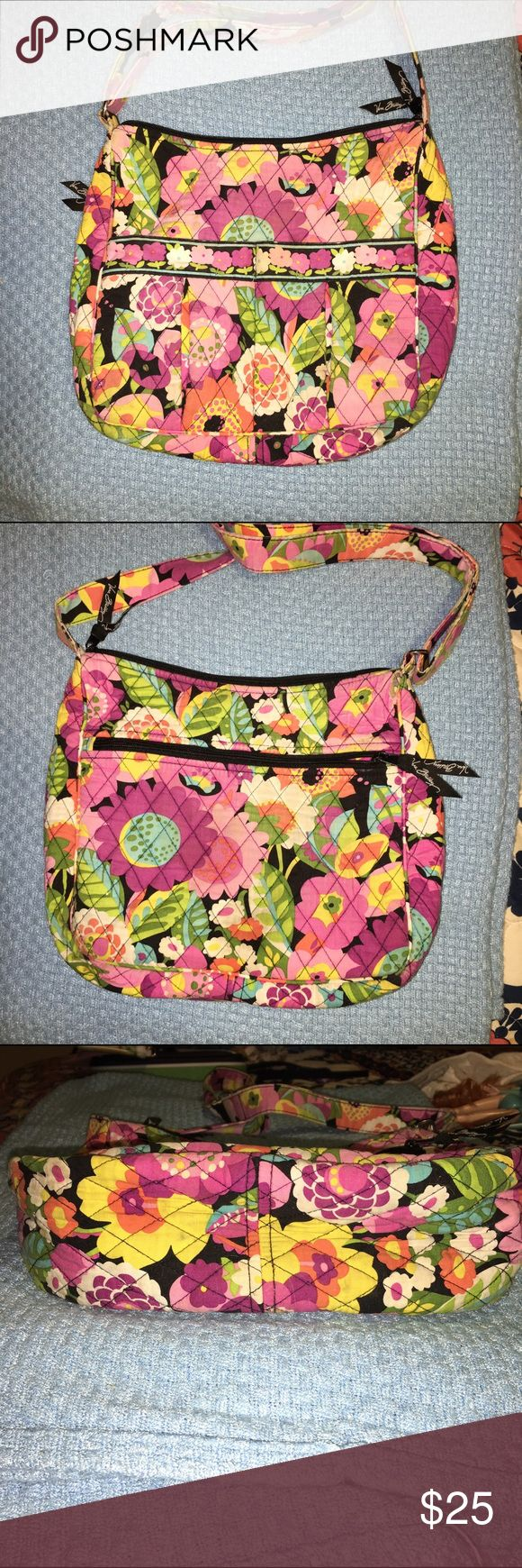 Vera Bradley Moms day out crossbody/diaper bag Moms day out bag in Va Va Bloom Well loved. Definitely some fading, no fraying. Missing the cardboard piece that gives it a hard bottom. Some dirt stains on bottom (see photos) otherwise good condition with a lot of life left. Vera Bradley Bags