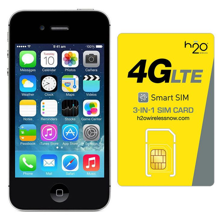 Refurbished Apple iPhone 4 AT&T Black 32GB & H20 4G LTE SIM Card (5GB Data Included)