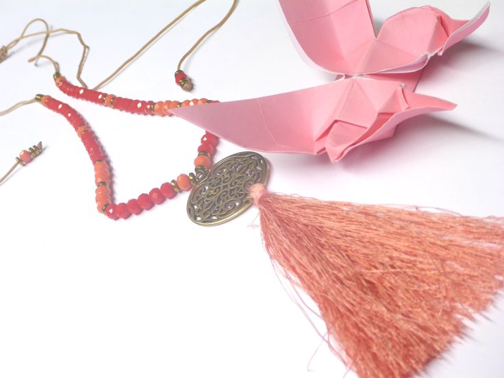 Romantic handmade necklace with tassel pendant and crystal beads