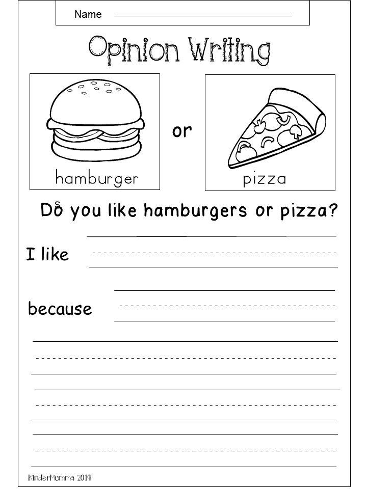 Free Opinion Writing Printable (Tacos vs Hot Dogs) First