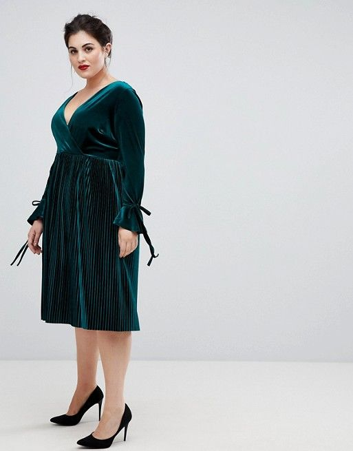 30eff4a53a7 Lovedrobe wrap front velvet dress with pleated skirt in emerald ...
