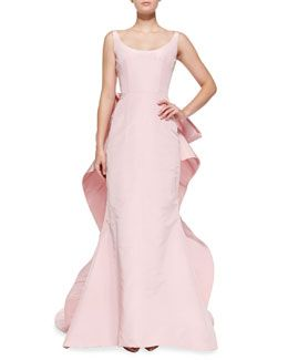 B2SXH Oscar de la Renta Sleeveless Oversize Bow-Back Gown