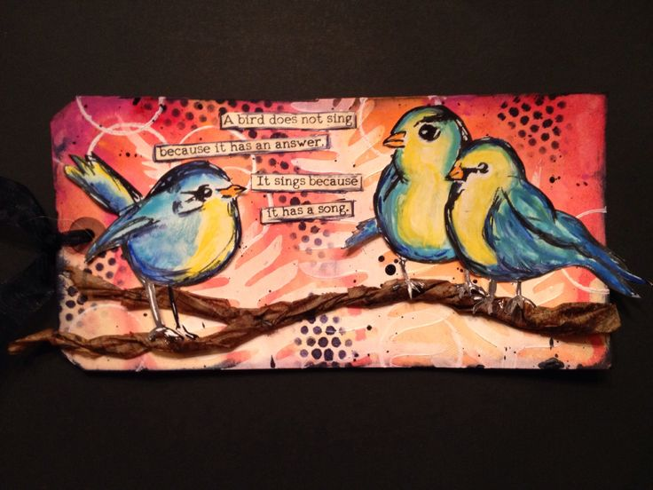 Tag made with Dina Wakley's bird stamps.