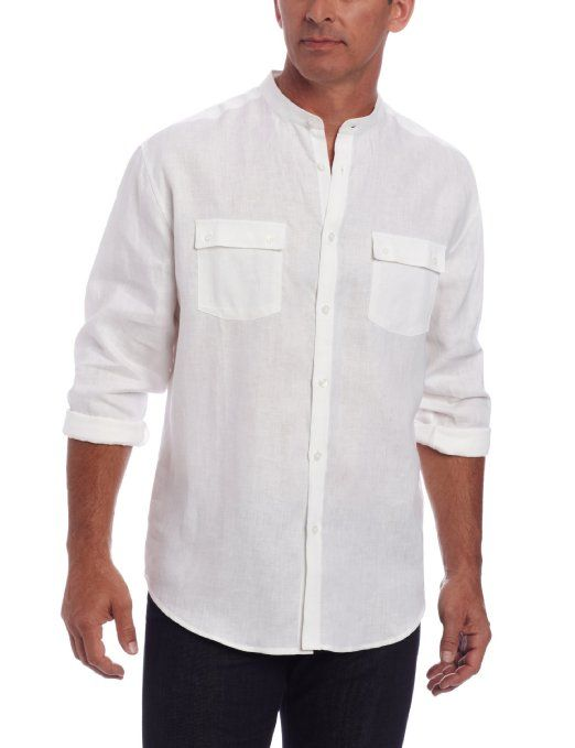 Cubavera Men 39 S Long Sleeve Shirt With Banded Collar And