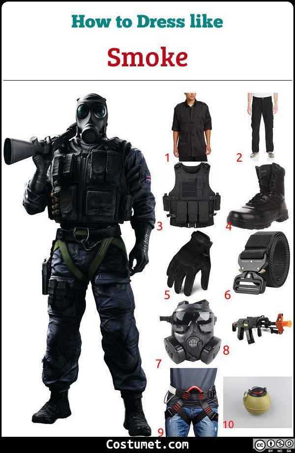 Rainbow Six Halloween 2020 Dress Like Smoke (Rainbow Six Siege) Costume | Black tactical vest
